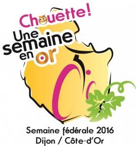 """logo semaine fédérale de Dijon """"Chouette une Semaine en Or"""""""
